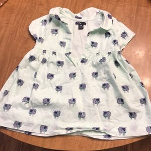 Baby Gap light blue areas with sheep all over.